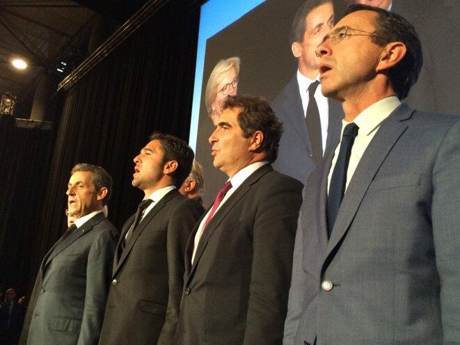 Nicolas Sarkozy, Arnaud Robinet, Christian Jaob et Bruno Retailleau aux journées parlementaires LR de Reims, le 23 septembre. © ES