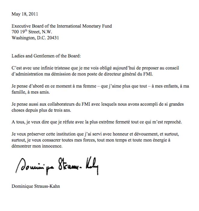 Courrier adressé par DSK au conseil d'administration du FMI.