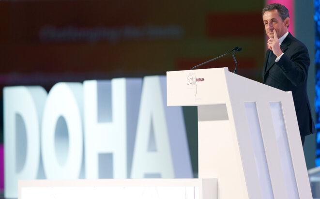 Nicolas Sarkozy en conférence à Doha (Qatar), le 11 décembre 2012. © Reuters