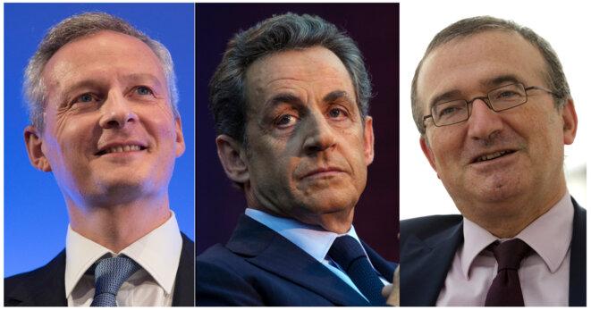 Bruno Le Maire, Nicolas Sarkozy et Hervé Mariton. © Reuters