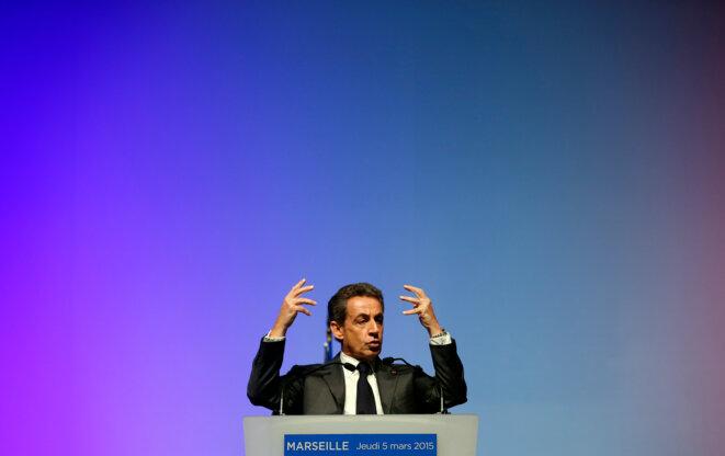 Nicolas Sarkozy en meeting pour les départementales, le 5 mars à Marseille.