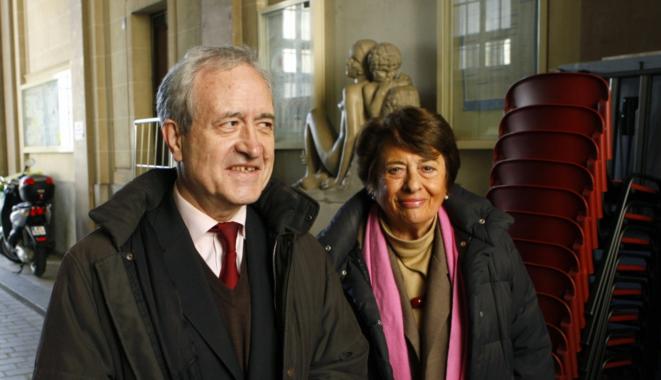 Jean Tibéri, conseiller de Paris depuis 1971 et sa femme, Xavière Tibéri. © Reuters/Antoine Gyori