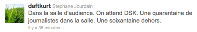 Correspondant pour l'AFP à Washington, Stéphane Jourdain twitte depuis la salle d'audience du tribunal pénal