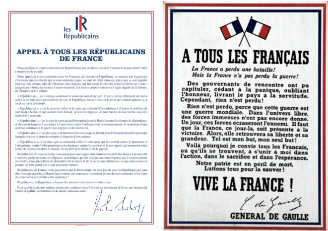 Juste après sa diffusion, l'appel de Nicolas Sarkozy a circulé sur les réseaux sociaux, accolé à celui de De Gaulle.