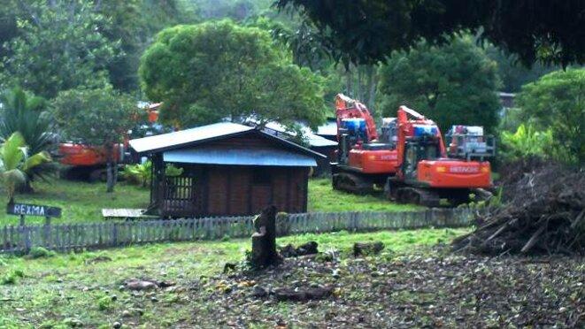 Les pelleteuses de l'entreprise minière finalement immobilisées, à Saül