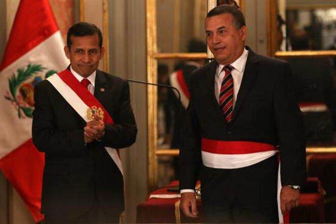 Ollanta Humala et son nouveau ministre de l'intérieur, l'ancien général Daniel Urresti.