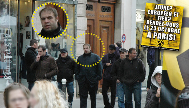 En octobre 2010, Axel Loustau avec quelques amis, lors d'une manifestation des identitaires. © Reflex(es)