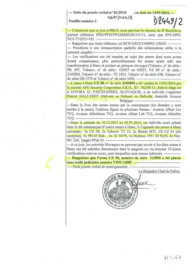 En date du 14 janvier, les autorités slovaques annoncent avoir identifié l'arme achetée par Halent © DR