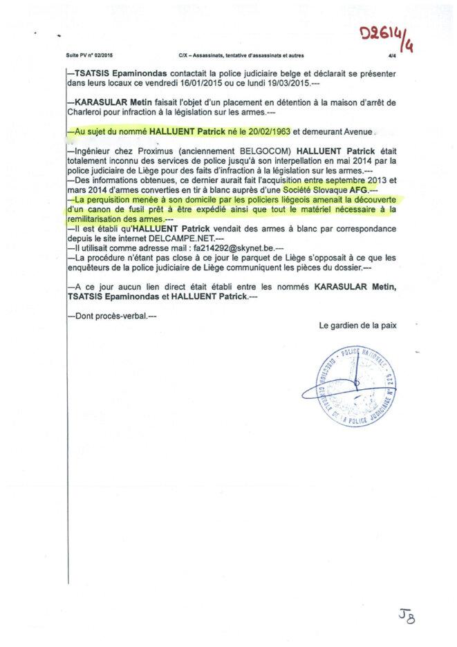 Le 15 janvier, la PJ de Charleroi signale qu'Halluent est connu des services de police © DR
