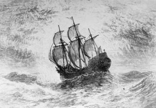Gravue ancienne représentant le Mayflower
