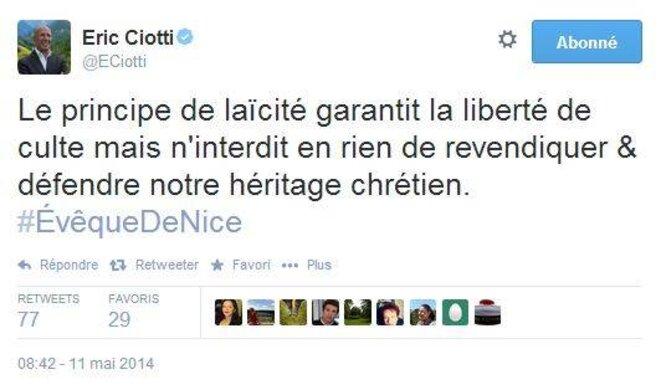 Compte Twitter d'Eric Ciotti - 11 mai 2014
