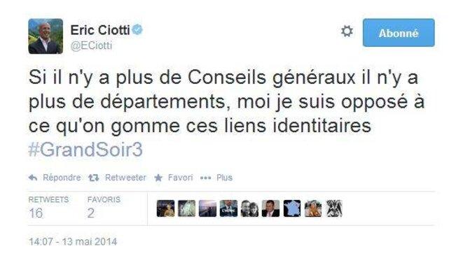Compte Twitter d'Eric Ciotti - 13 mai 2014 © David Nakache