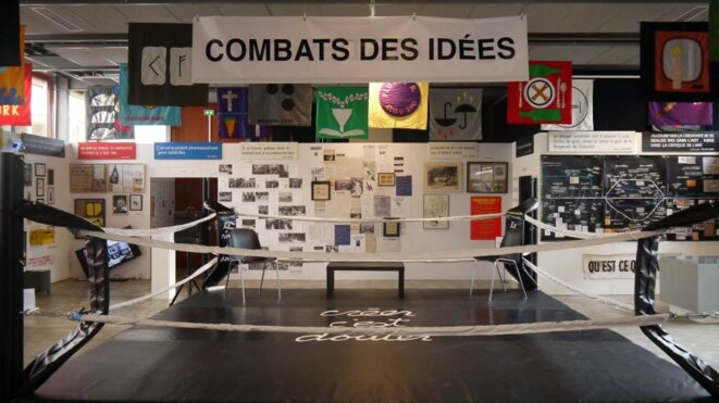 La salle d'expositions temporaires. Au centre, le «Ring du doute » de Ben © François Boutard