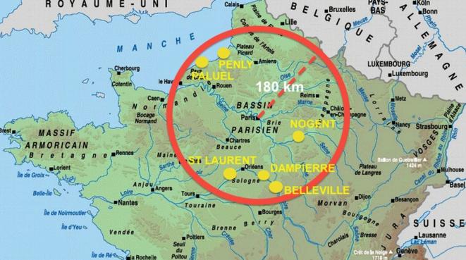Dans un rayon de 180km autour de Paris : 6 centrales totalisant 16 réacteurs