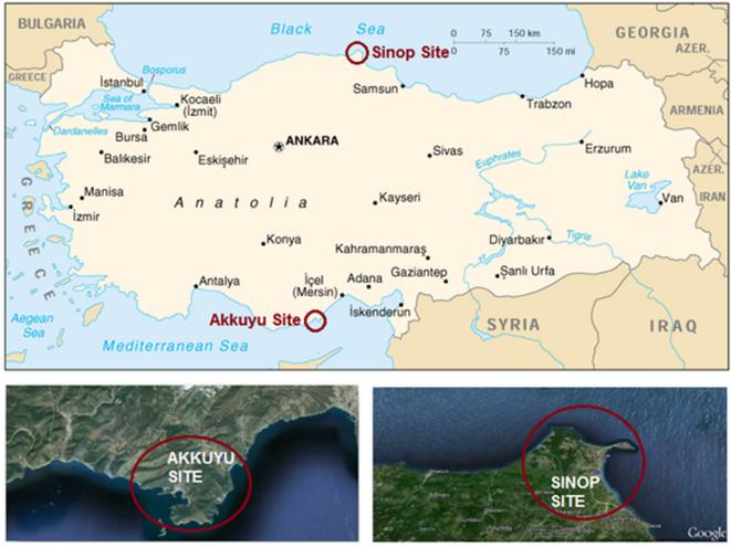 Akkuyu et Sinop, deux projets de centrales nucléaires en Turquie - source AIEA