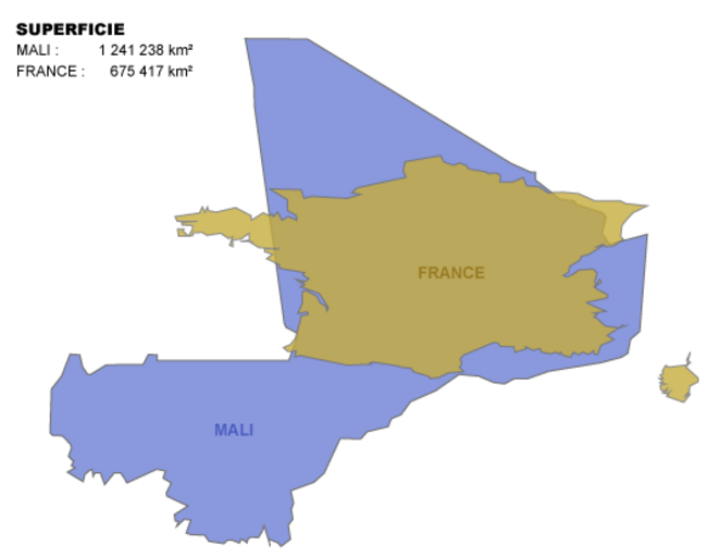 superficies comparées du Mali et de la France