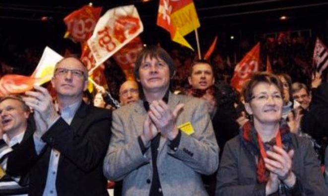 De gauche à droite: Eric Aubin, Bernard Thibault et Nadine Prigent