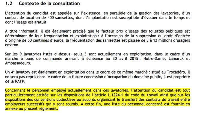 Extrait du règlement de la concession dans le cadre de l'appel d'offres de la Ville de Paris