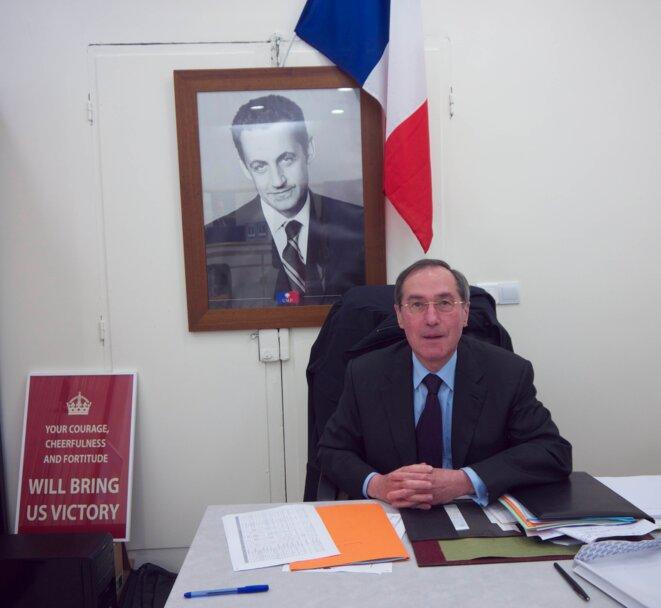 Claude Guéant au siège de sa permanence en mai dernier