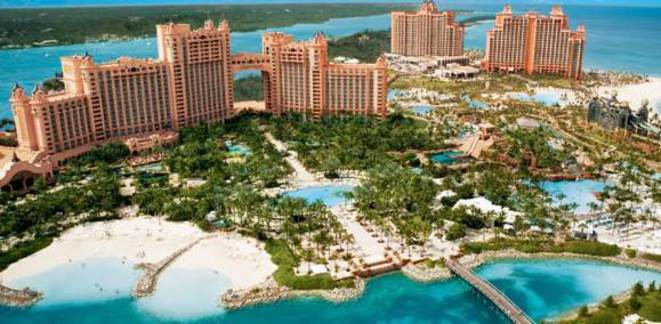 Le méga hôtel-casino Atlantis Paradise Island, aux Bahamas. © DR