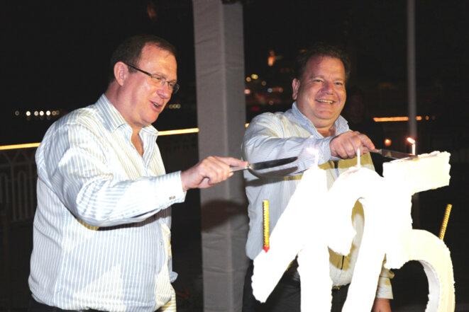 Jürg Schmid et Christophe Mazurier, PDG de Pasche, lors de la fête des 125 ans de la banque, en juin 2010 © DR