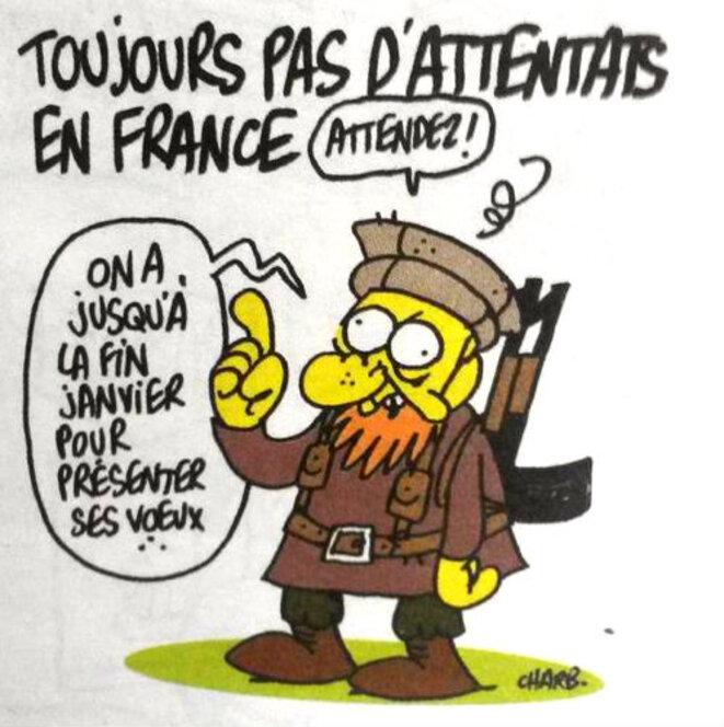 Un des derniers dessins de Charb, publié le 7 janvir 2014 © Charb