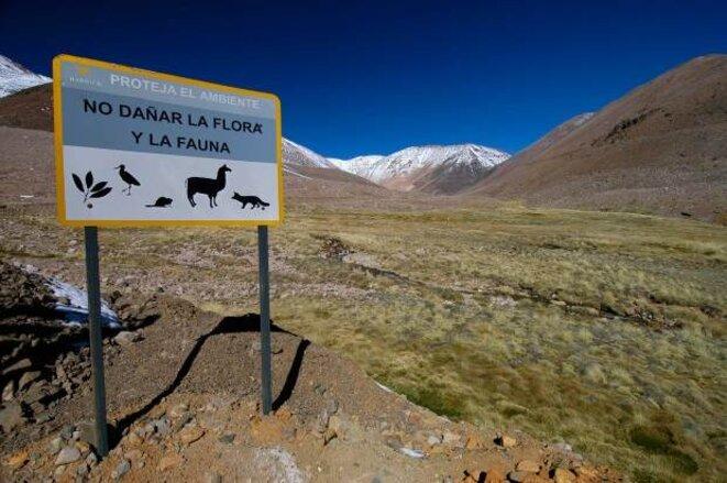 """Près de la mine Pascua Lama, le panneau de Barrick Gold: """"Protégez l'environnement. Ne pas endommager la faune et la flore."""""""