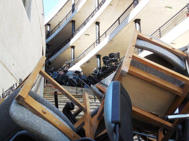 Le siège de l'Université de la Mer à Reñaca, pendant son blocage, le 26 mars.