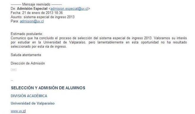 E-mail de l'Université de Valparaiso exposant à Felipe son refus de l'accepter.
