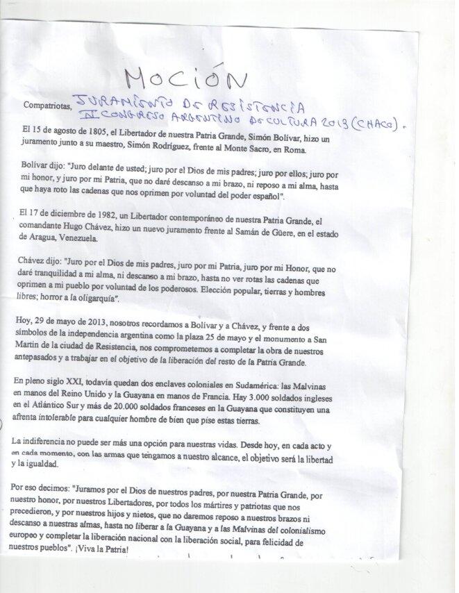 El juramiento de Resistencia; La Mocion del IV Congreso Argentino de Cultura, Chaco 2013.