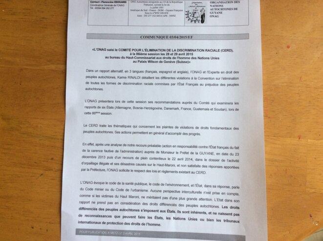 ONAG-CERD Rapport 1/3.
