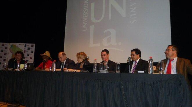 Julio Cardoso , R. Charlotte (OGDH), Dr Raul Eugenio Zaffaroni, Dra  Ana Jaramillo, P. Carpentier (MDES), Marcello Gullo. © R. Charlotte/ S. Alphonsine