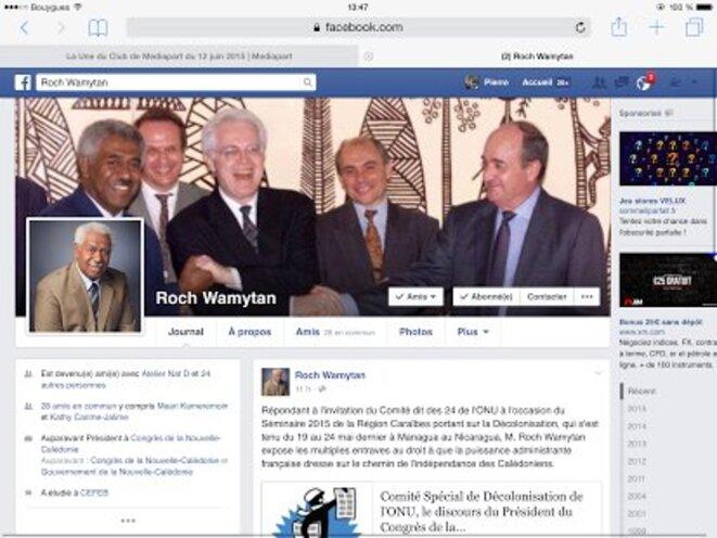 Page du profil Facebook de Roch Wamytan © Pierre Carpentier.