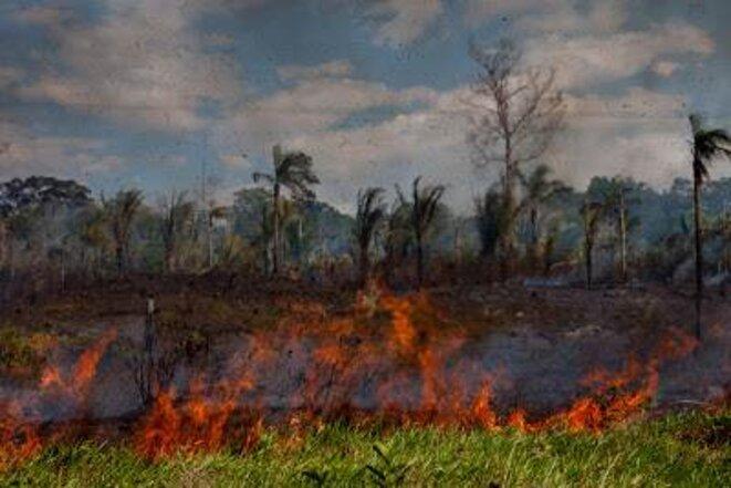 Incendie entre Porto Velho et l'usine de Jirau. La déforestation s'intensifie © Marcelo Min