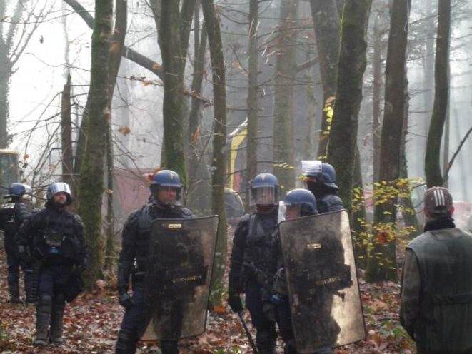 Des terroristes casqués protègent les engins de destruction dans la forêt de Rohanne © Zadist