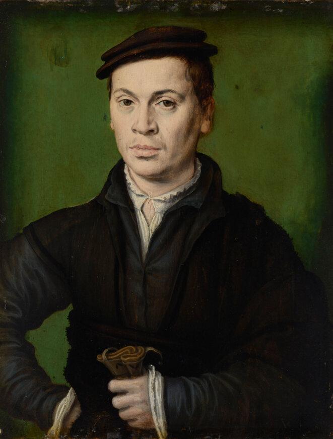 → Homme au béret noir tenant une paire de gants, vers 1530. © Photo : MBA Lyon / Alain Basset.