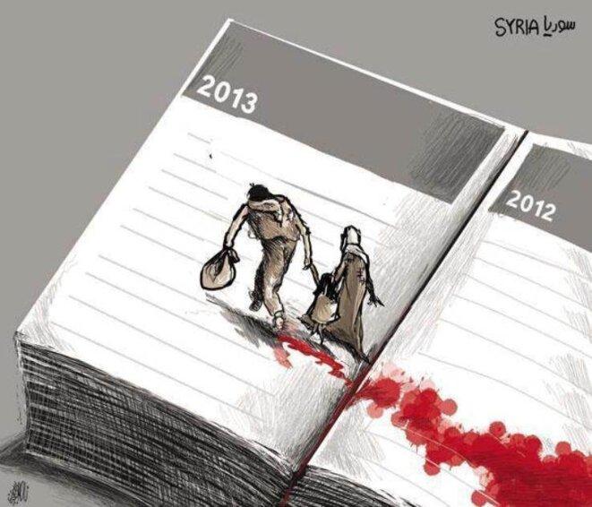 Dessin de Nasser al-Jaaffari extrait d'un portfolio publié par Mediapart.