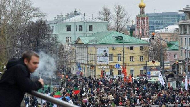 Manifestation, dimanche 27 octobre à Moscou, pour la libération des prisonniers politiques.