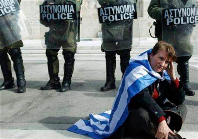 Manifestation samedi à Athènes. © Reuters