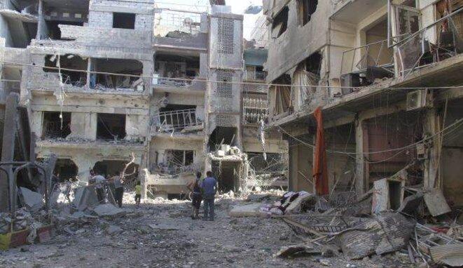 Ruines dans la ville de Yarmouk à l'été 2013.