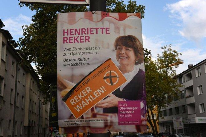 Affiche électorale de Henriette Reker, agressée samedi à Cologne.