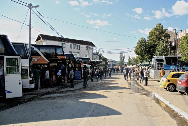 Autobus à Presevo en partance pour la frontière croate. 35 euros le trajet.