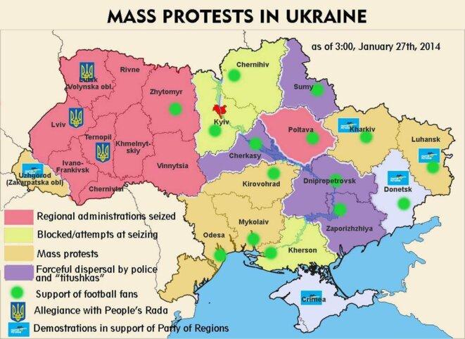 Etat des lieux des manifestations dans le pays, selon le mouvement EuroMaïdan.