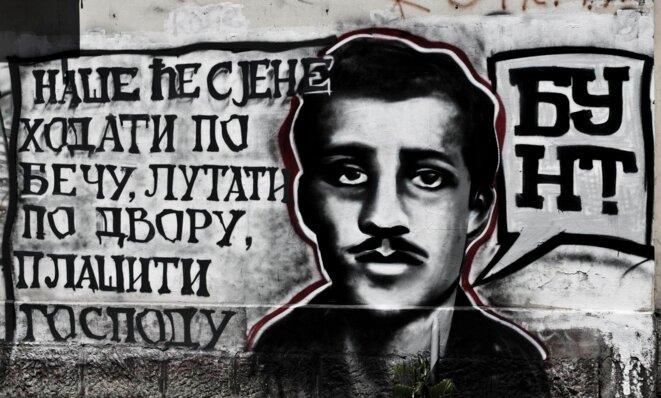 Grafitti en l'honneur de Gavrilo Princip à Belgrade. © Laurent Geslin