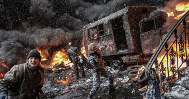 Dans le centre de Kiev, mercredi après-midi.