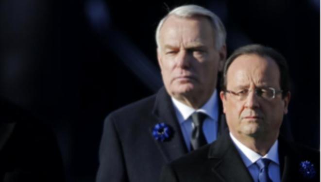 François Hollande et Jean-Marc Ayrault le 11 novembre 2013. © Reuters