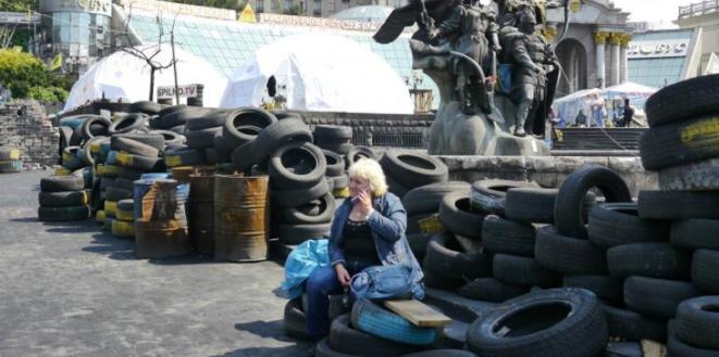 Sur la place du Maïdan à Kiev. © (A.P.)