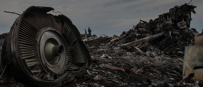 Wreckage from Malaysia Airlines flight MH17 found in eastern Ukraine on July 17th 2014. © CORRECT!V