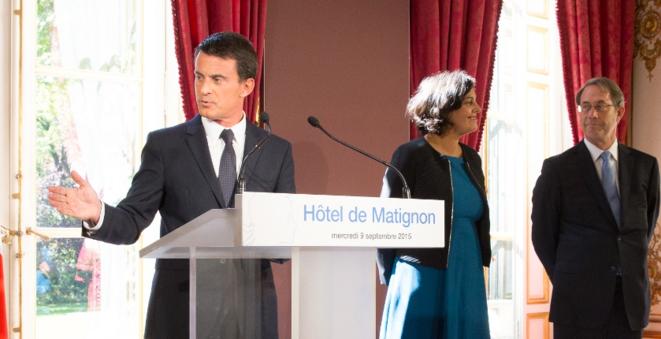 Manuel Valls, Myriam El Khomri, nouvelle ministre du travail et Jean-Denis Combrexelle lors de la présentation du rapport. © (dr)