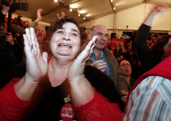 Athènes, dimanche, à l'annonce des résultats. © Reuters